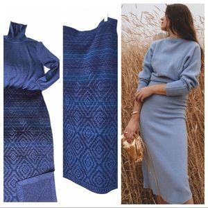 Pendleton 100% Merino Wool Knit Skirt Set xl blue